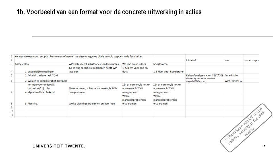 1b. Voorbeeld van een format voor de concrete uitwerking in acties