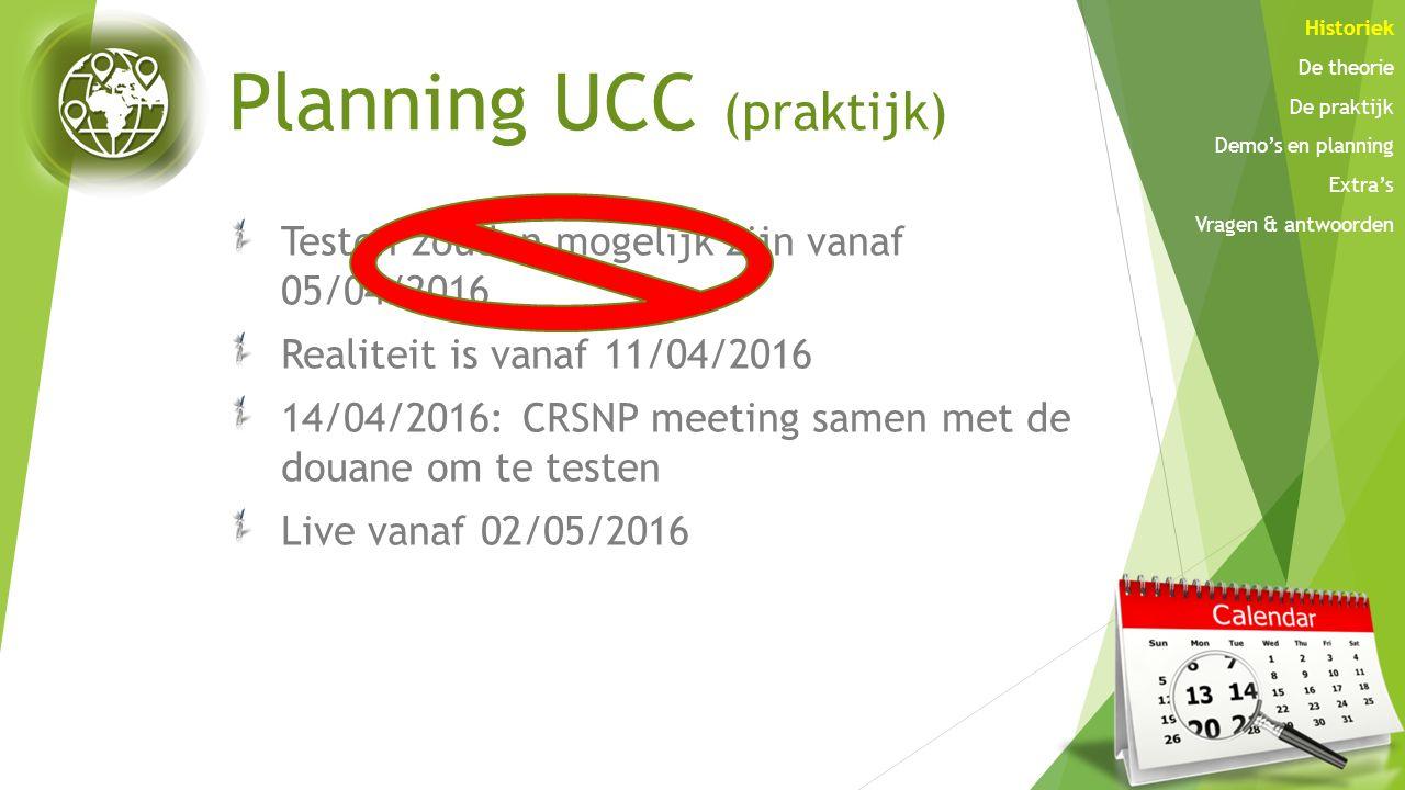 Planning UCC (praktijk)