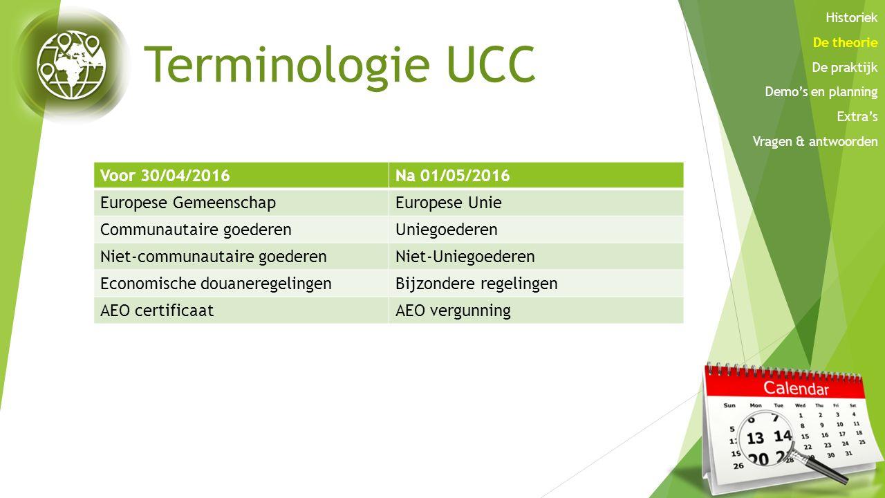 Terminologie UCC Voor 30/04/2016 Na 01/05/2016 Europese Gemeenschap