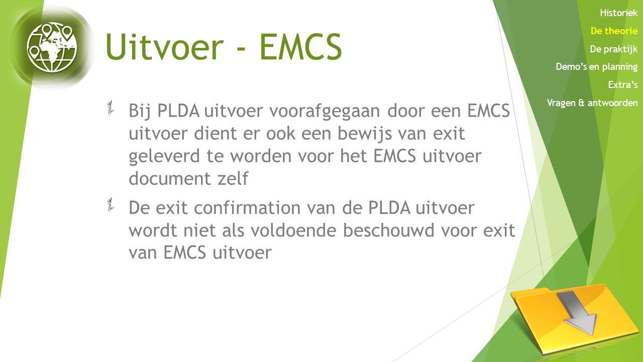 Historiek De theorie. De praktijk. Demo's en planning. Extra's. Vragen & antwoorden. Uitvoer - EMCS.