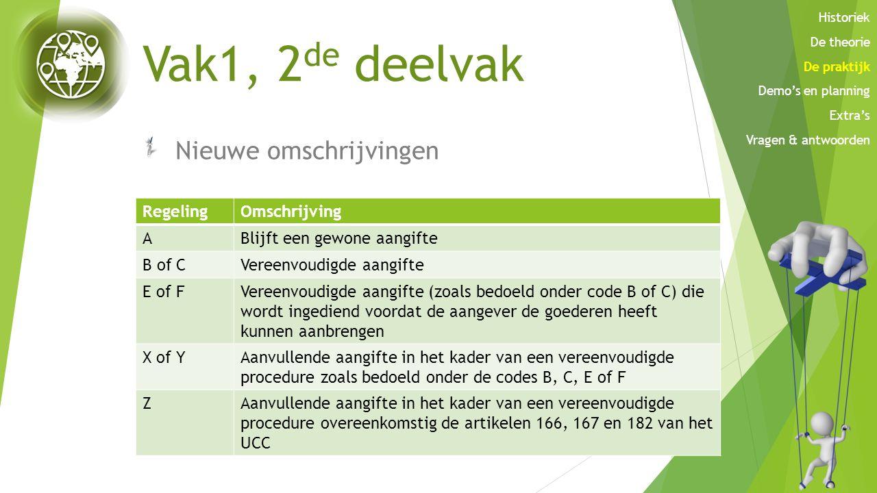 Vak1, 2de deelvak Nieuwe omschrijvingen Regeling Omschrijving A