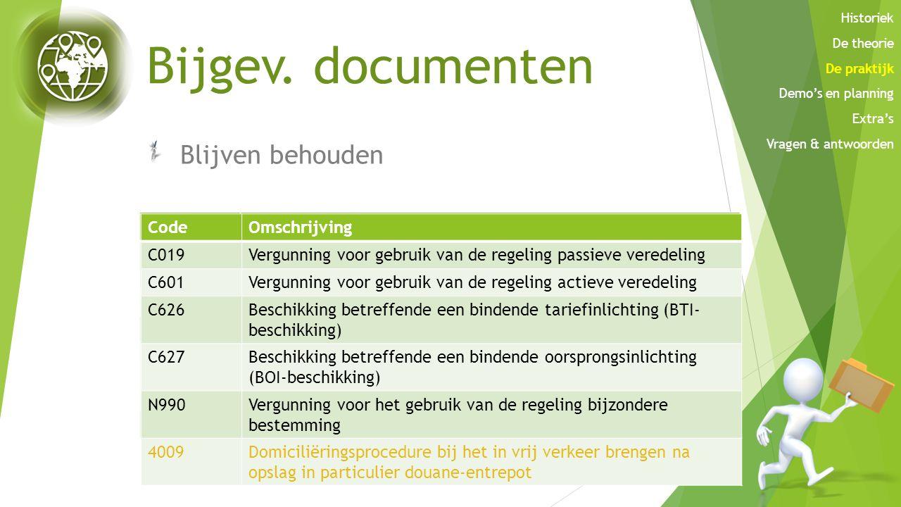 Bijgev. documenten Blijven behouden Code Omschrijving C506