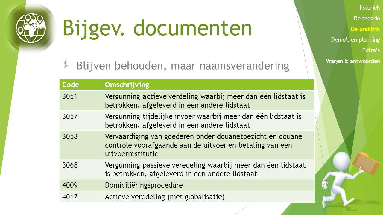 Bijgev. documenten Blijven behouden, maar naamsverandering Code