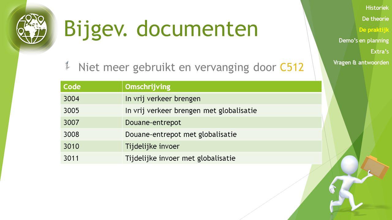 Bijgev. documenten Niet meer gebruikt en vervanging door C512 Code