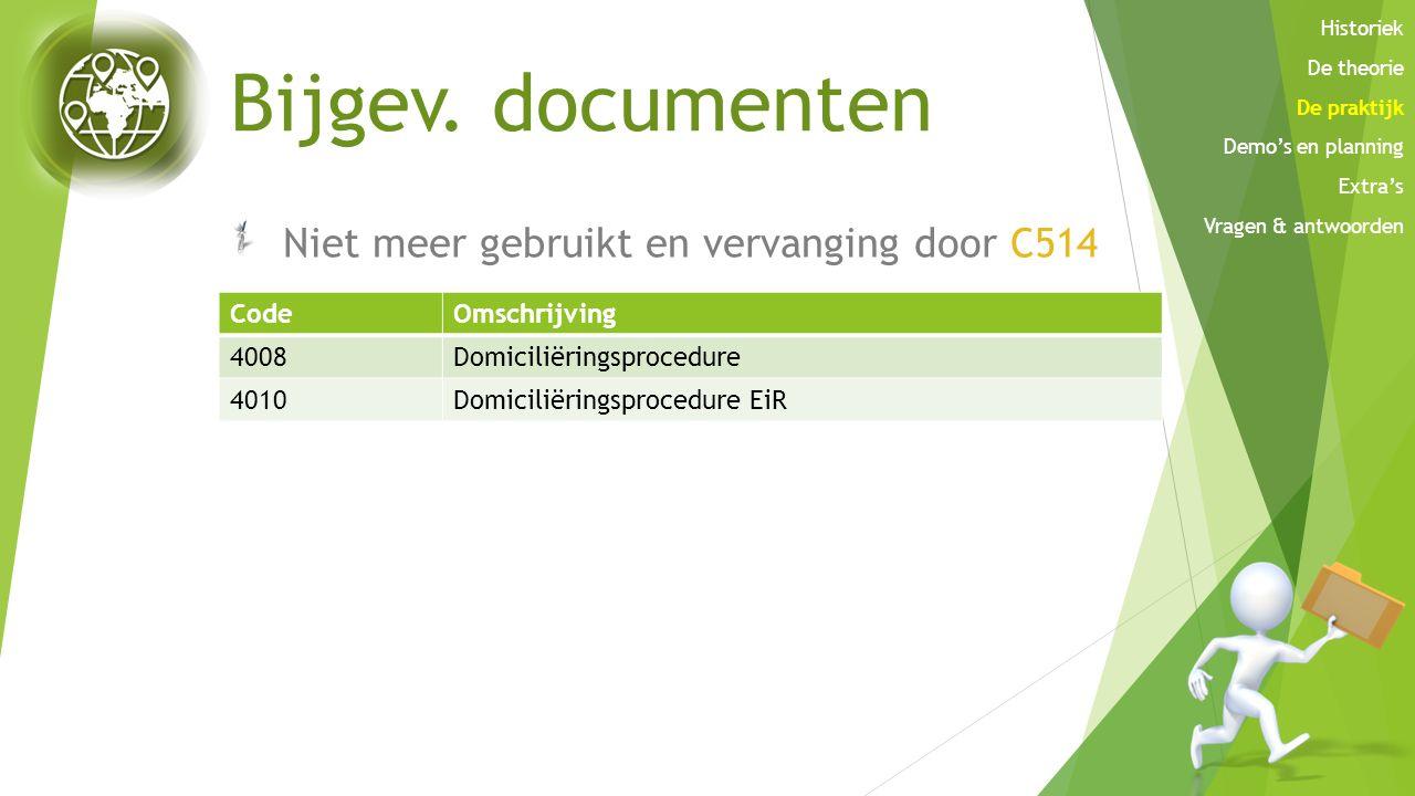 Bijgev. documenten Niet meer gebruikt en vervanging door C514 Code