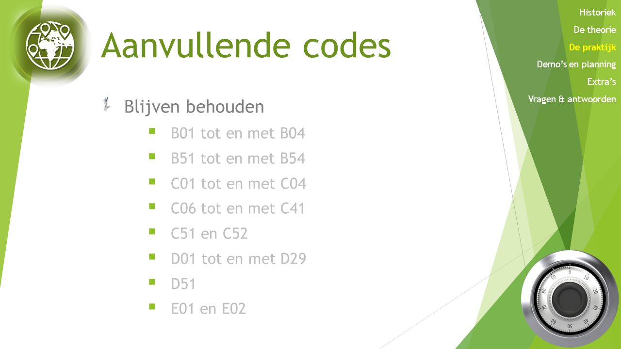 Aanvullende codes Blijven behouden B01 tot en met B04