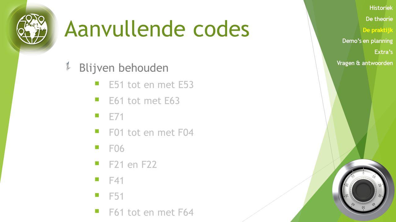 Aanvullende codes Blijven behouden E51 tot en met E53 E61 tot met E63