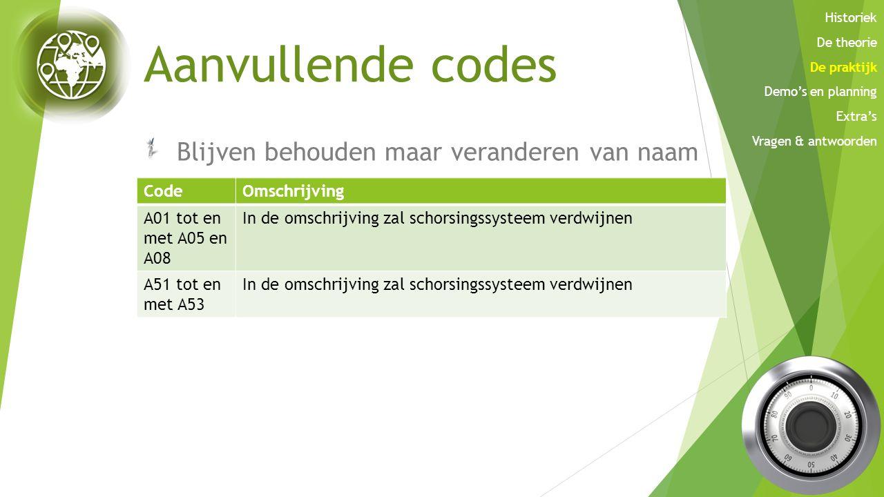 Aanvullende codes Blijven behouden maar veranderen van naam Code