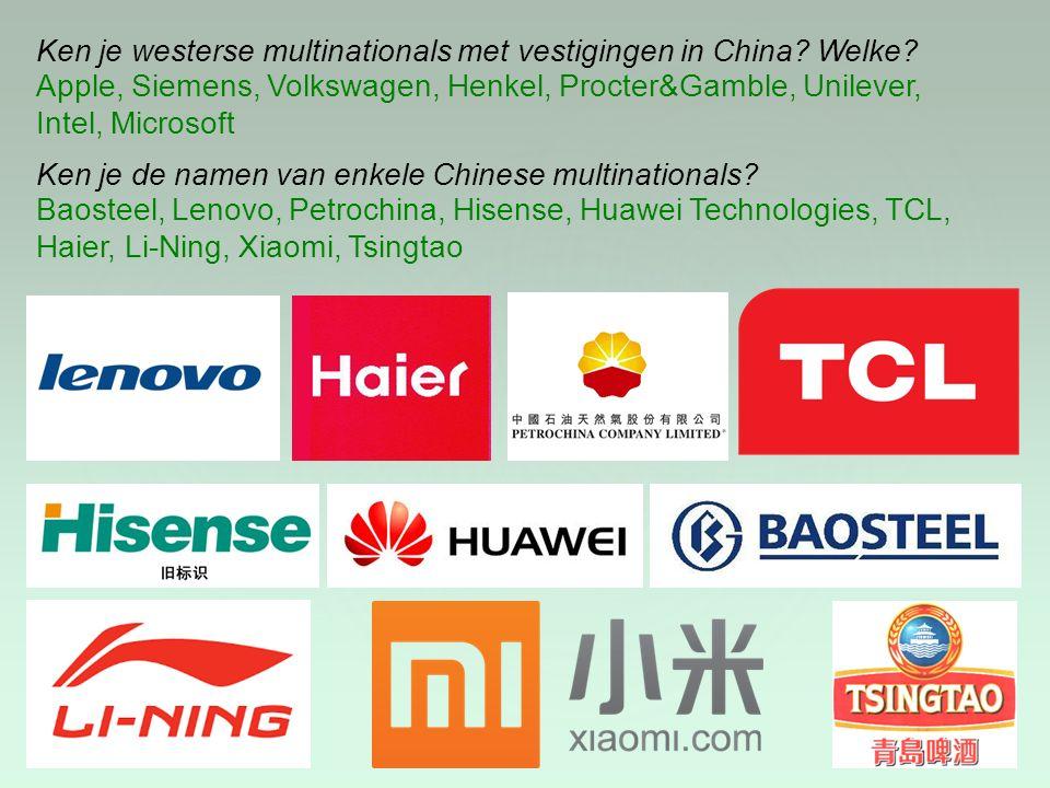 Ken je westerse multinationals met vestigingen in China Welke