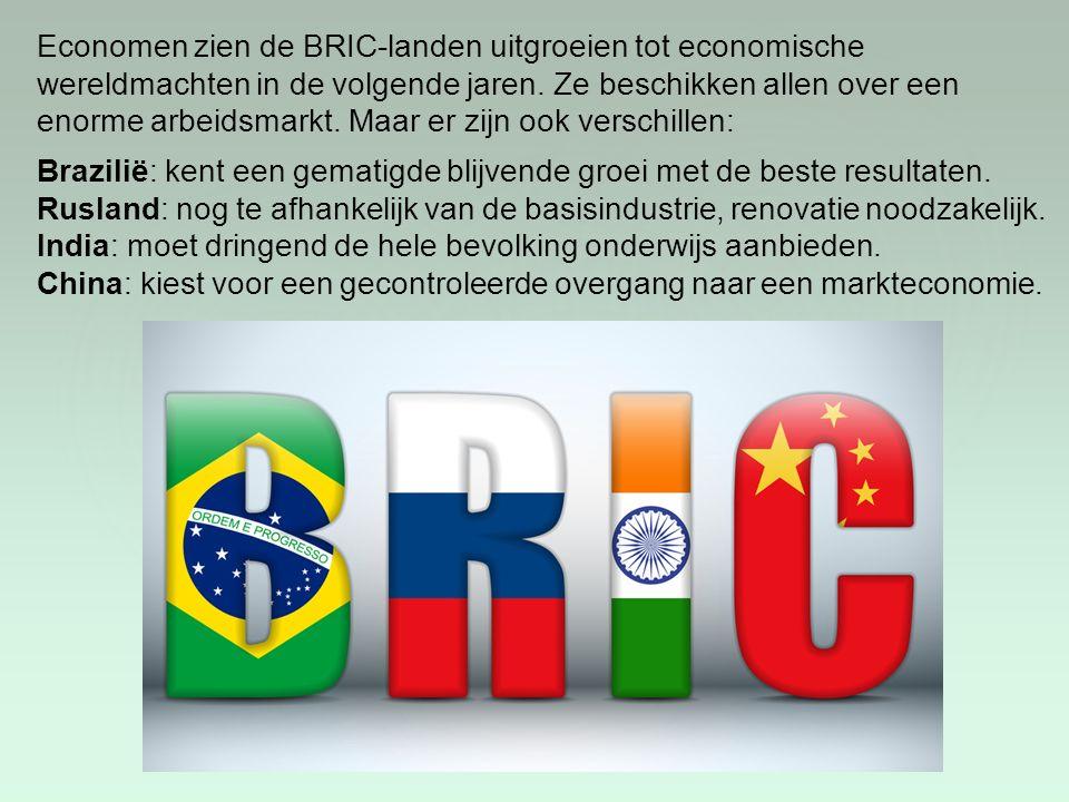 Economen zien de BRIC-landen uitgroeien tot economische wereldmachten in de volgende jaren. Ze beschikken allen over een enorme arbeidsmarkt. Maar er zijn ook verschillen: