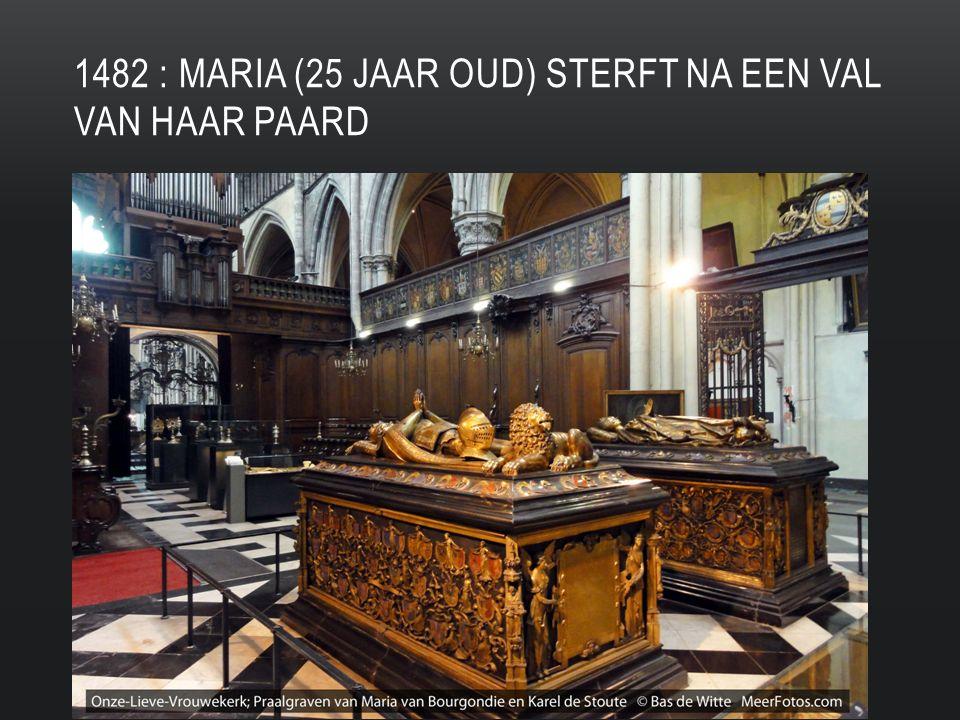 1482 : Maria (25 jaar oud) sterft na een val van haar paard