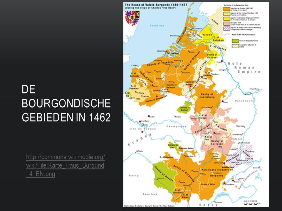 De Bourgondische gebieden in 1462