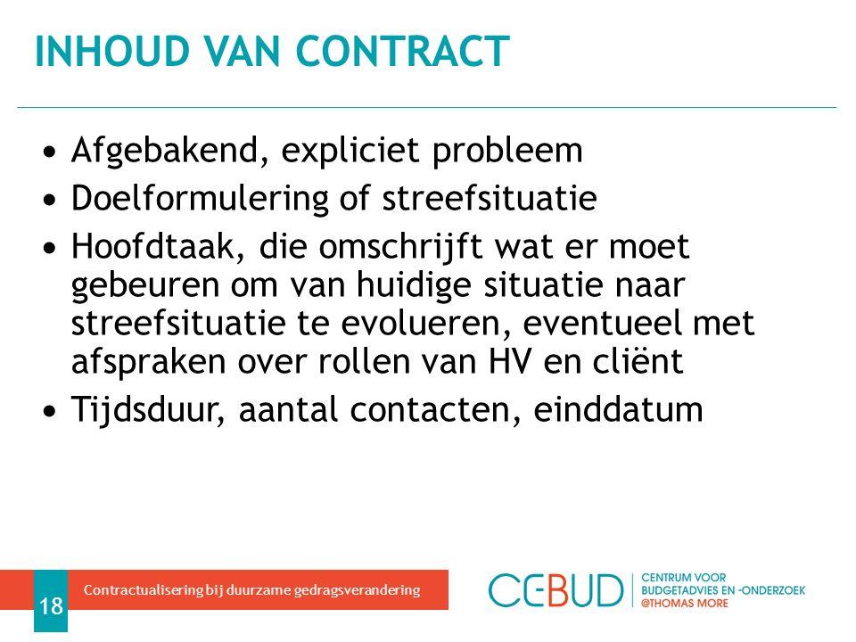 Inhoud van contract Afgebakend, expliciet probleem
