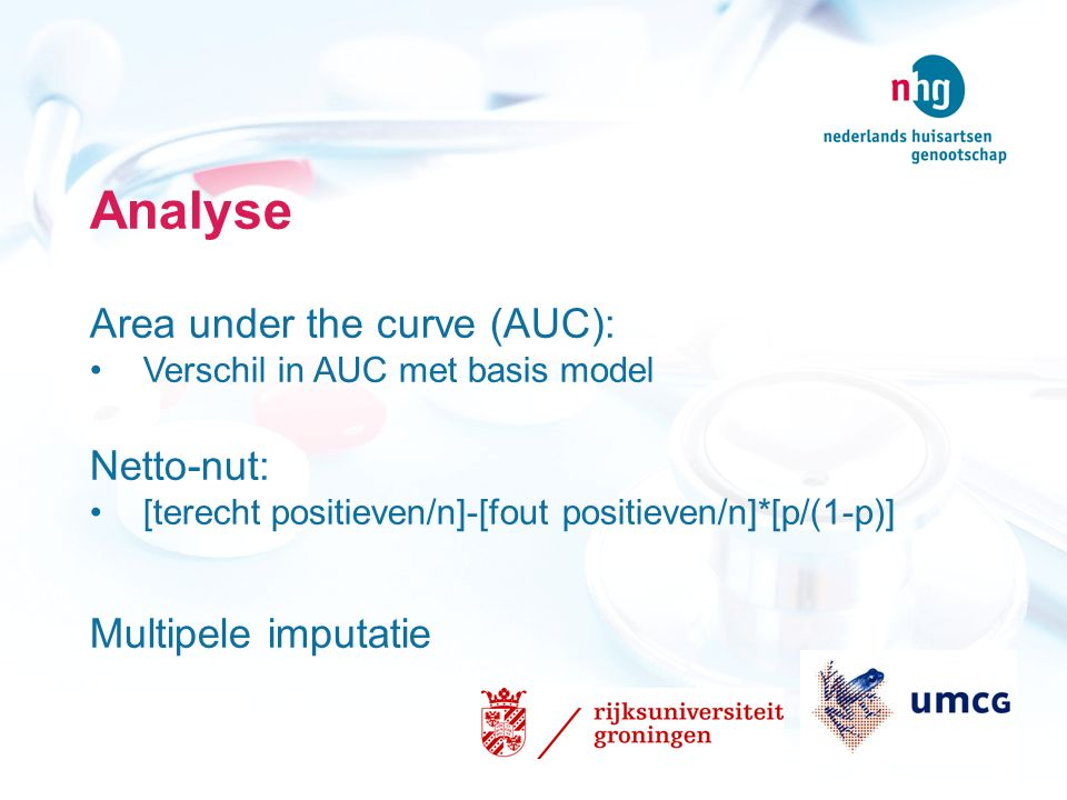 Analyse Area under the curve (AUC): Netto-nut: Multipele imputatie