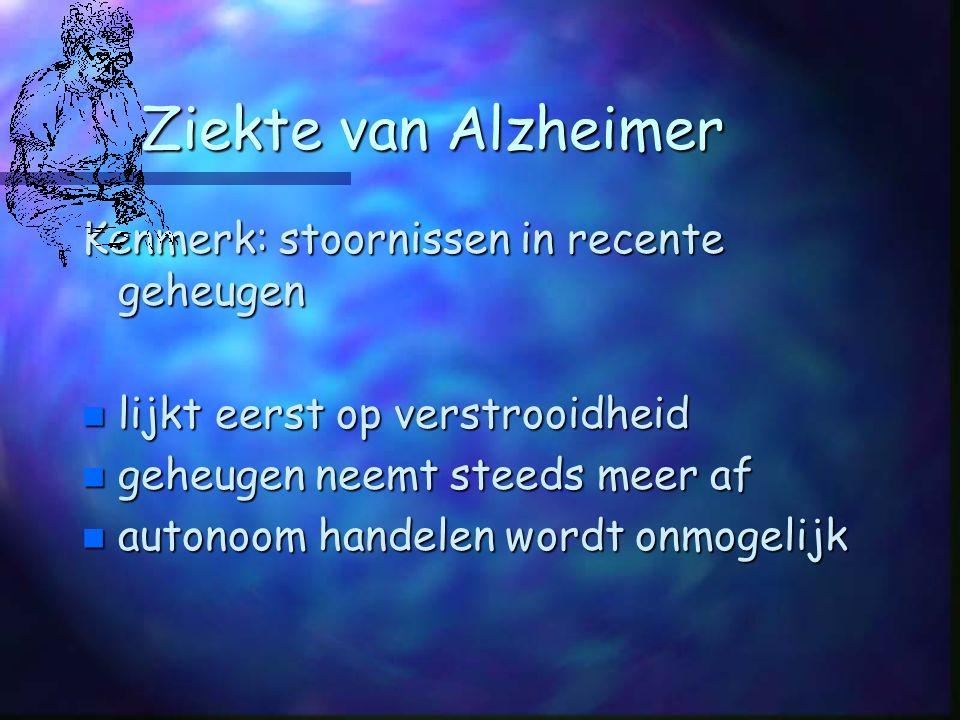 Ziekte van Alzheimer Kenmerk: stoornissen in recente geheugen