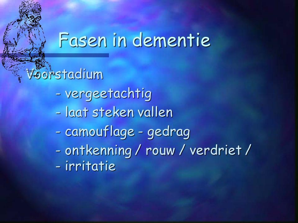 Fasen in dementie Voorstadium - vergeetachtig - laat steken vallen