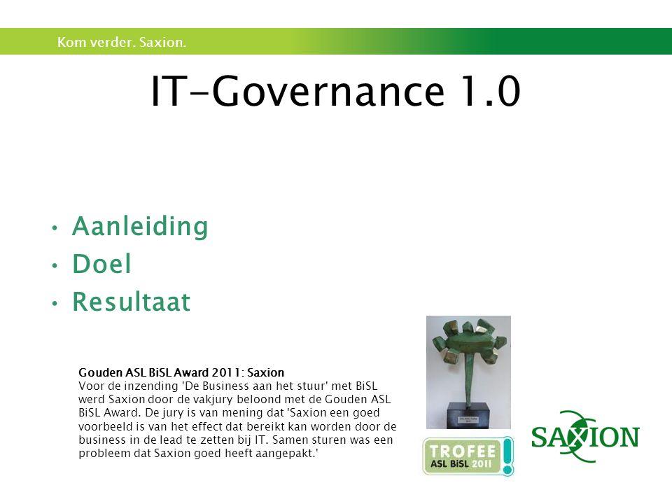 IT-Governance 1.0 Aanleiding Doel Resultaat Aanleiding