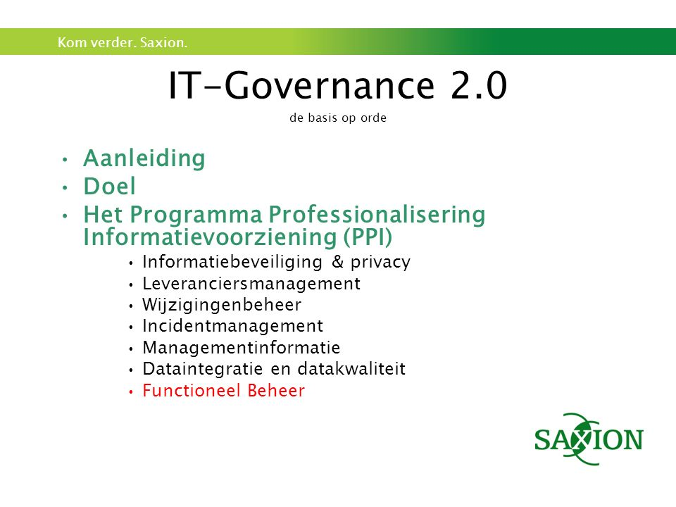 IT-Governance 2.0 de basis op orde