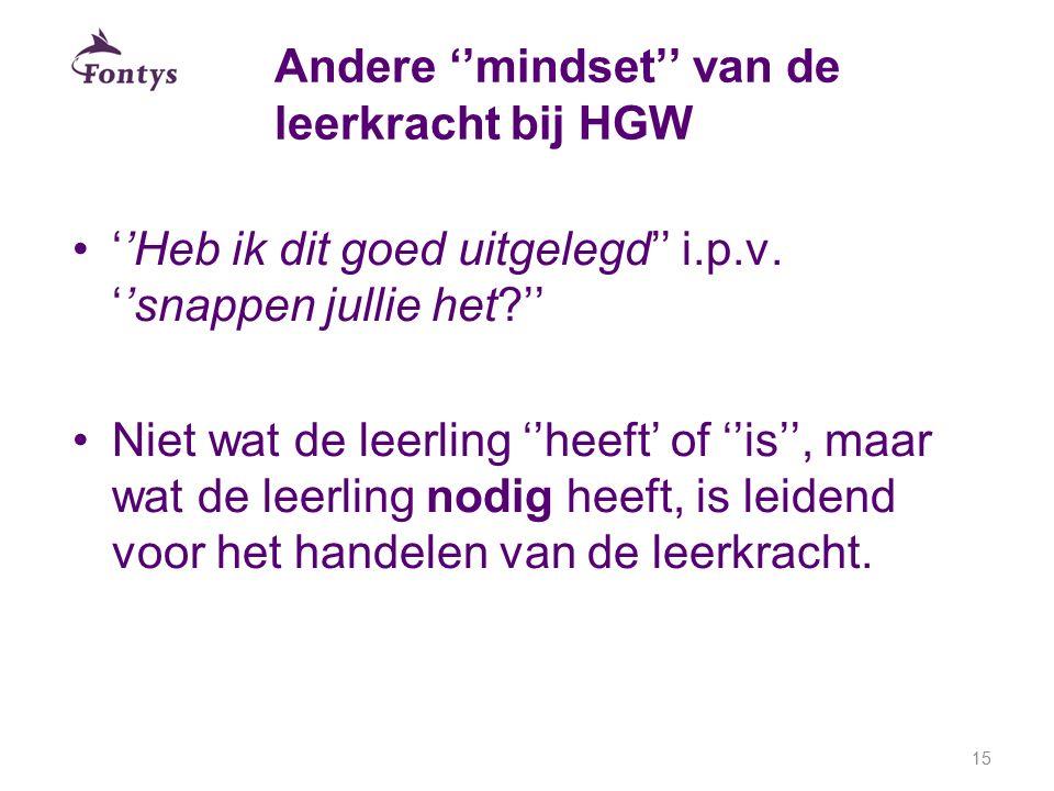 Andere ''mindset'' van de leerkracht bij HGW