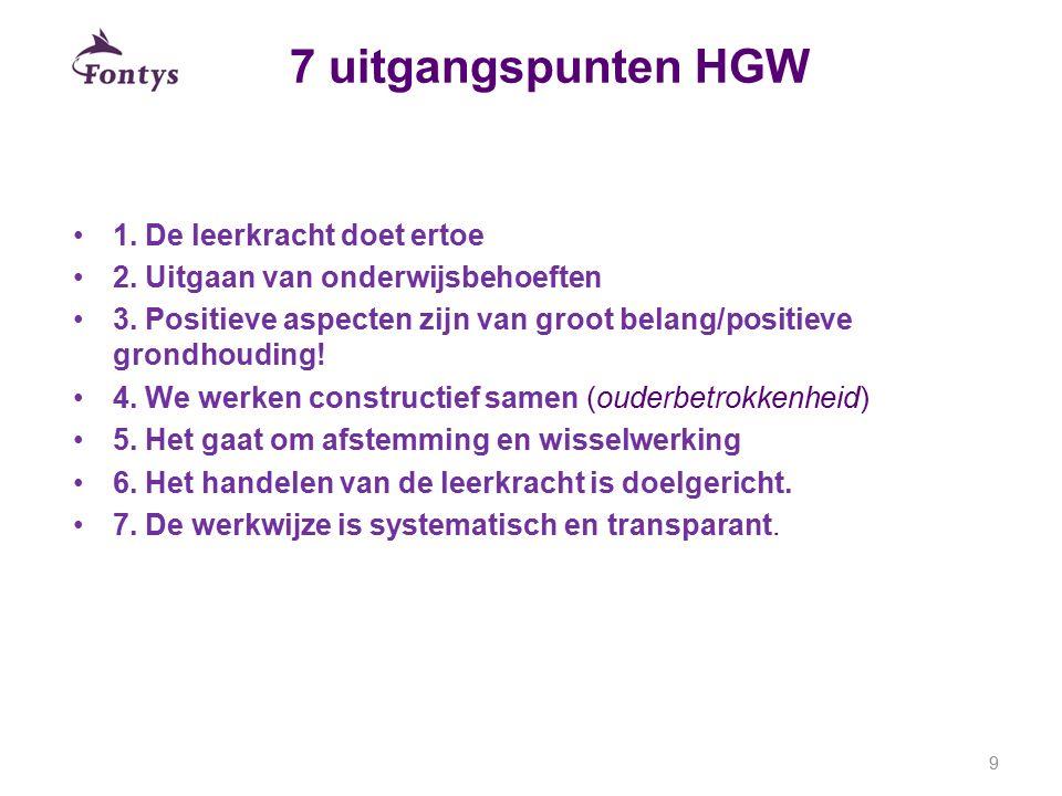 7 uitgangspunten HGW 1. De leerkracht doet ertoe