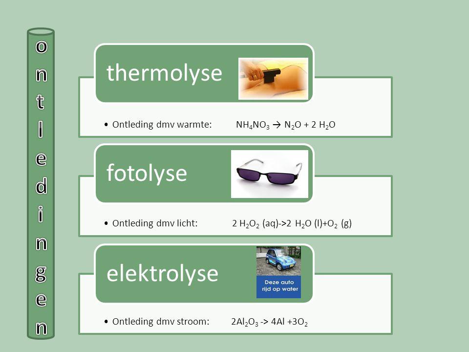 ontledingen Ontleding dmv warmte: NH4NO3 → N2O + 2 H2O