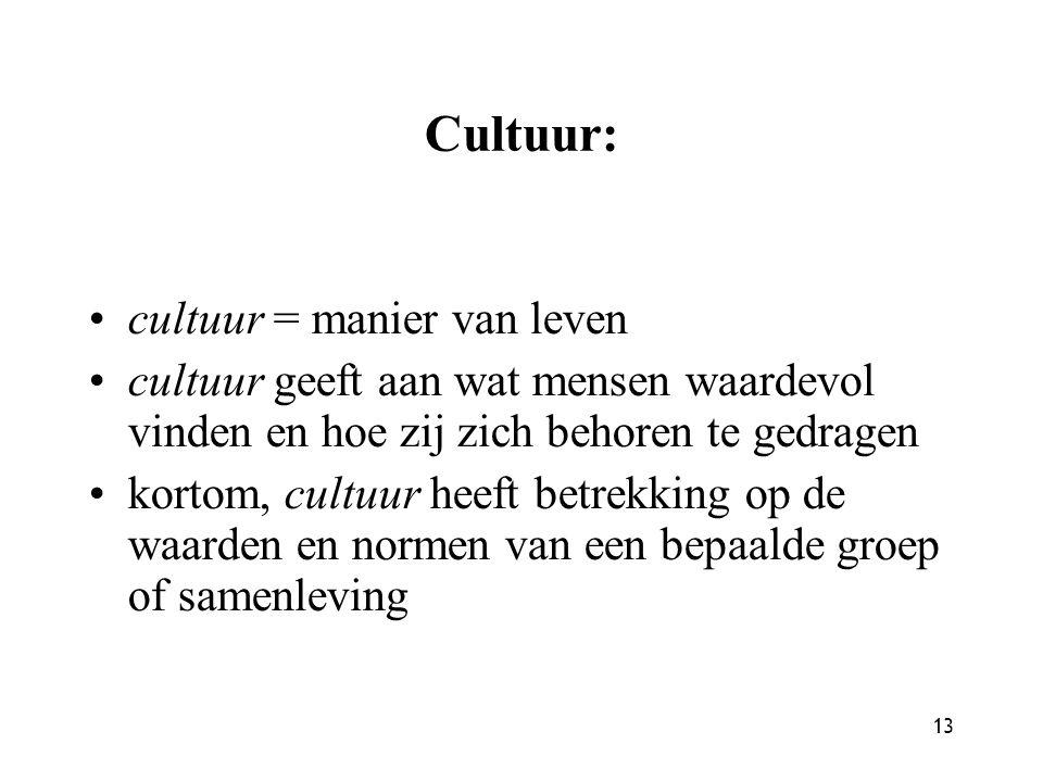 Cultuur: cultuur = manier van leven