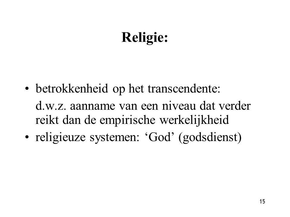 Religie: betrokkenheid op het transcendente: