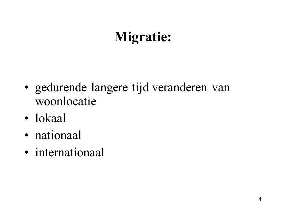 Migratie: gedurende langere tijd veranderen van woonlocatie lokaal