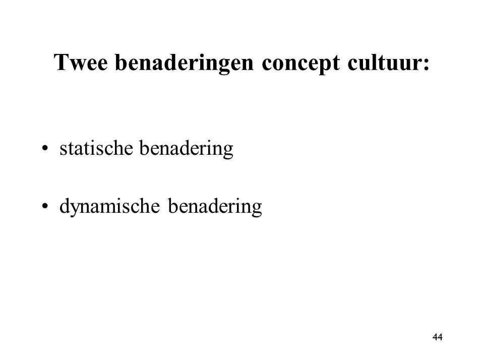 Twee benaderingen concept cultuur: