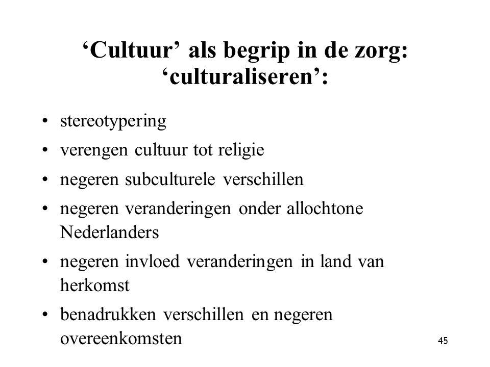 'Cultuur' als begrip in de zorg: 'culturaliseren':