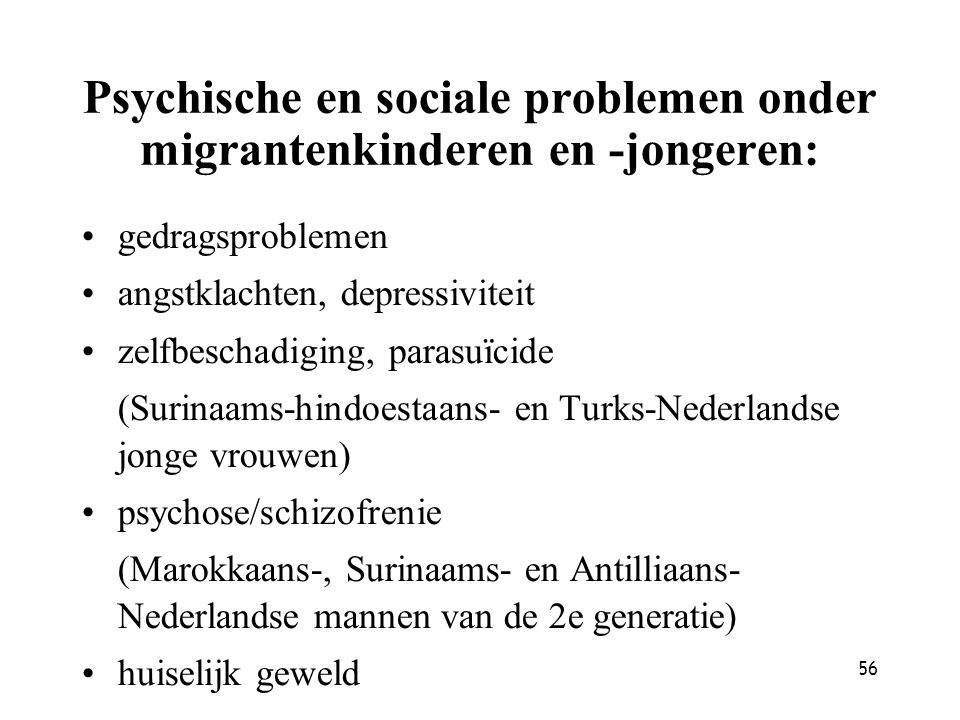 Psychische en sociale problemen onder migrantenkinderen en -jongeren: