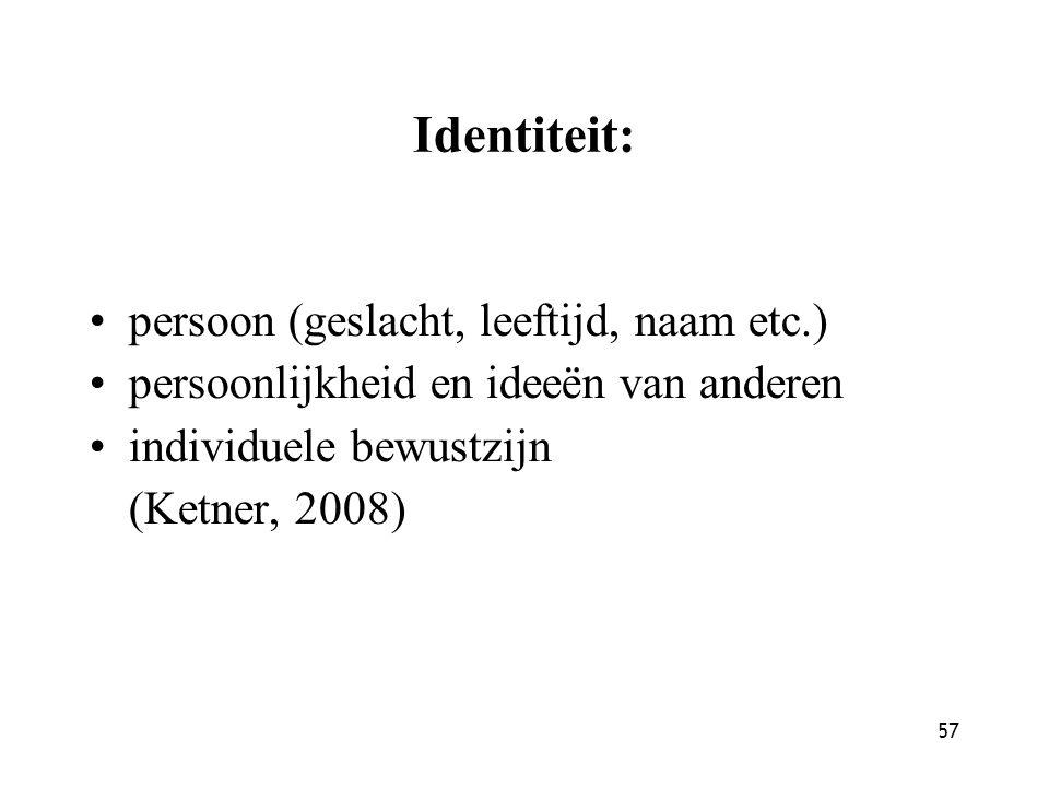 Identiteit: persoon (geslacht, leeftijd, naam etc.)