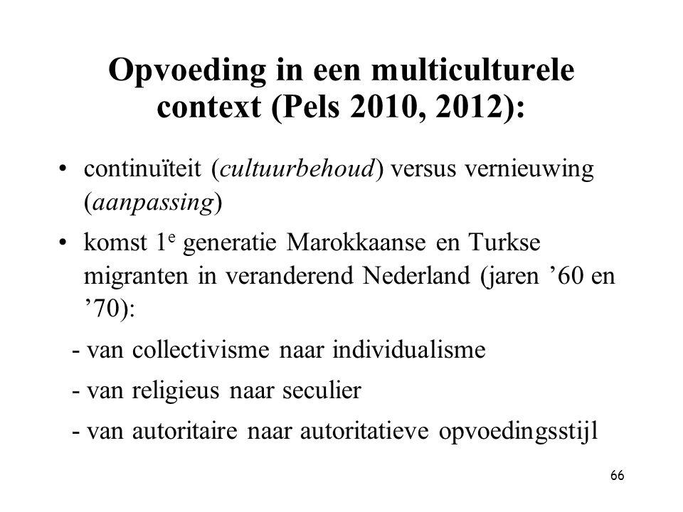 Opvoeding in een multiculturele context (Pels 2010, 2012):