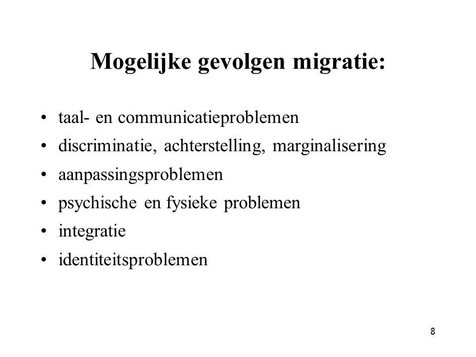 Mogelijke gevolgen migratie: