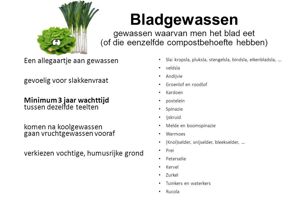 Bladgewassen gewassen waarvan men het blad eet (of die eenzelfde compostbehoefte hebben)