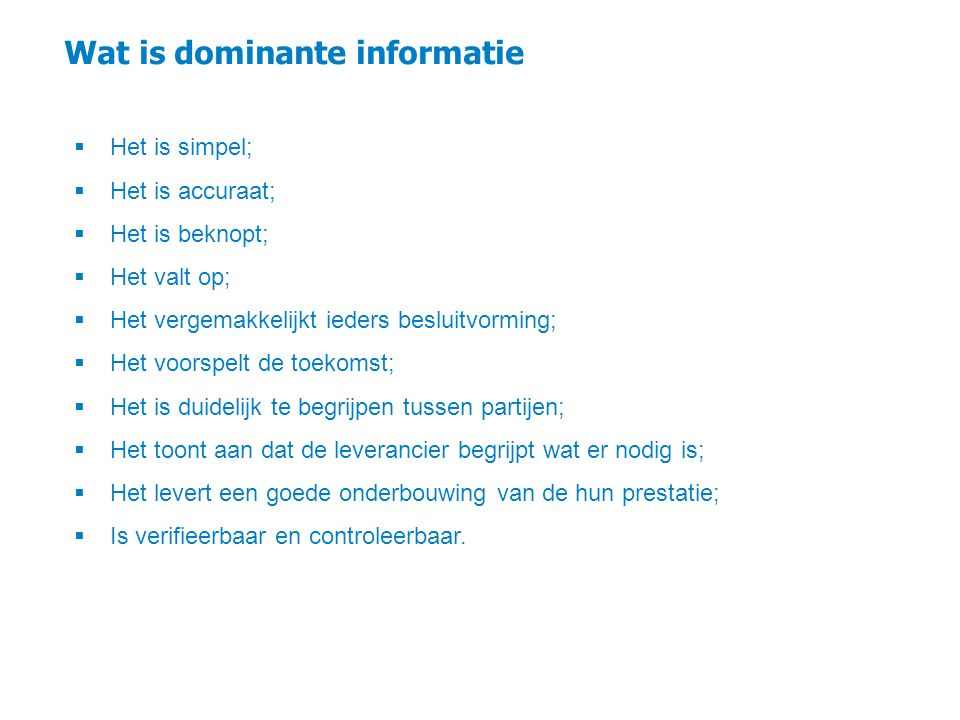 Wat is dominante informatie