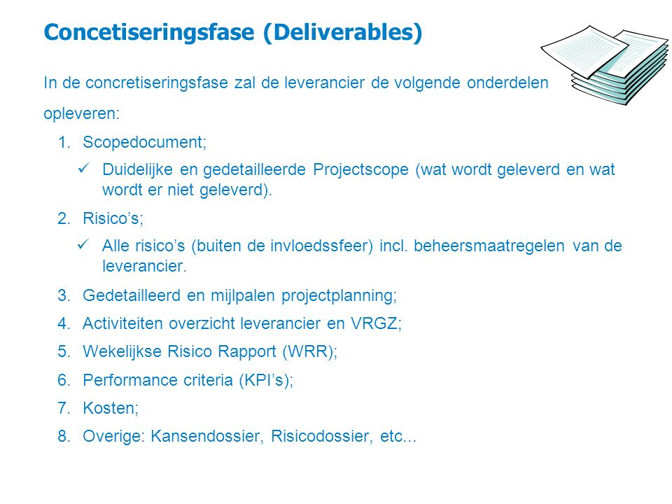 Concetiseringsfase (Deliverables)