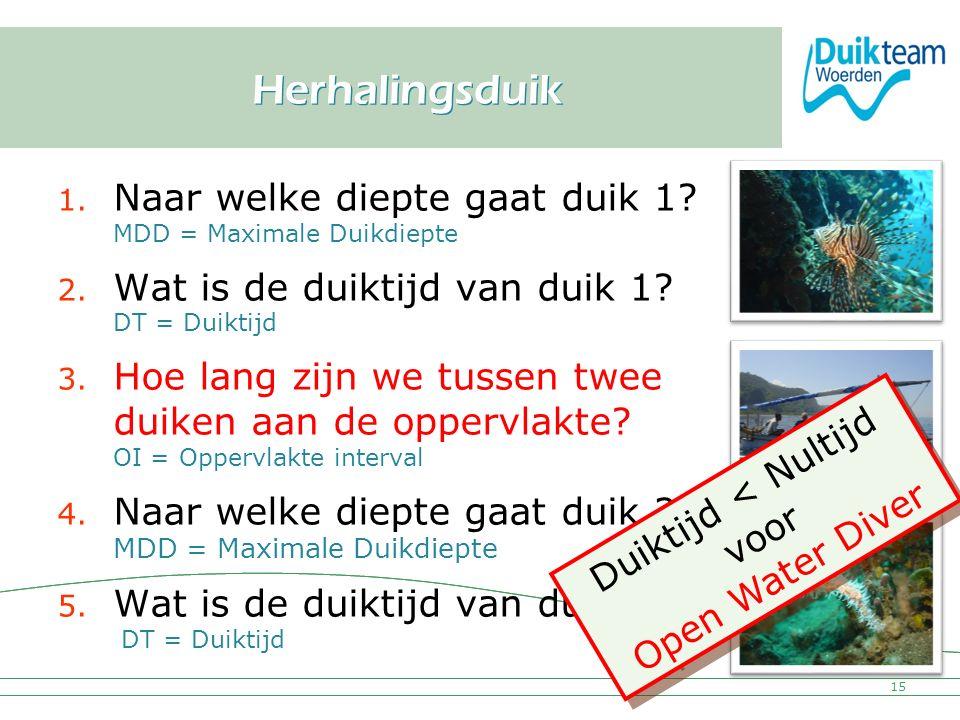 Herhalingsduik Naar welke diepte gaat duik 1 MDD = Maximale Duikdiepte. Wat is de duiktijd van duik 1 DT = Duiktijd.