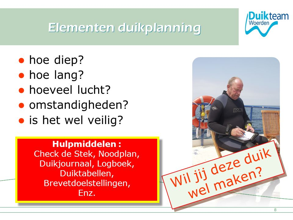 Elementen duikplanning