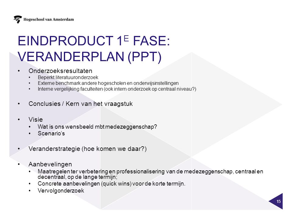 Eindproduct 1e fase: veranderplan (ppt)