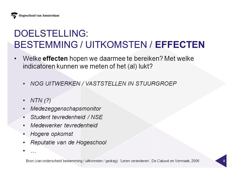 Doelstelling: bestemming / uitkomsten / effecten