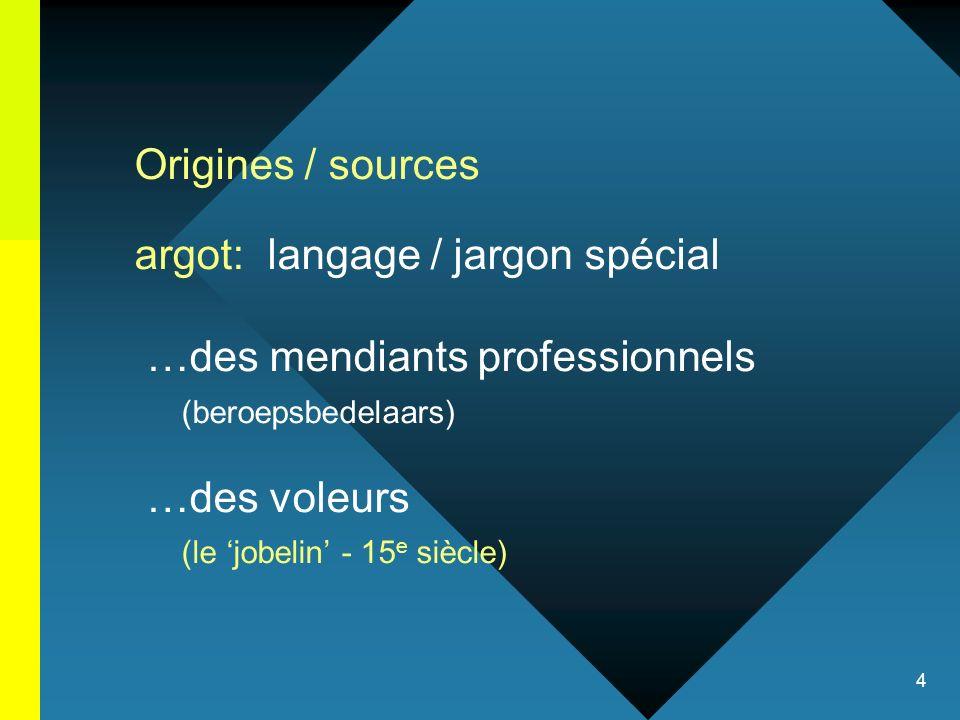 Origines / sources argot: langage / jargon spécial. …des mendiants professionnels. (beroepsbedelaars)