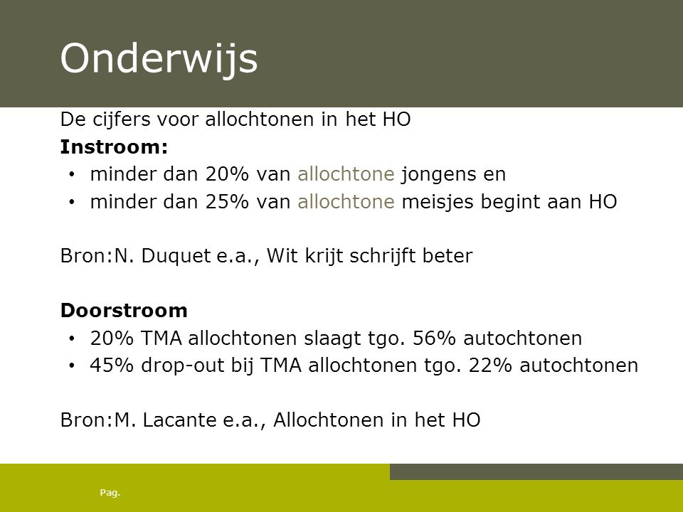 Onderwijs De cijfers voor allochtonen in het HO Instroom: