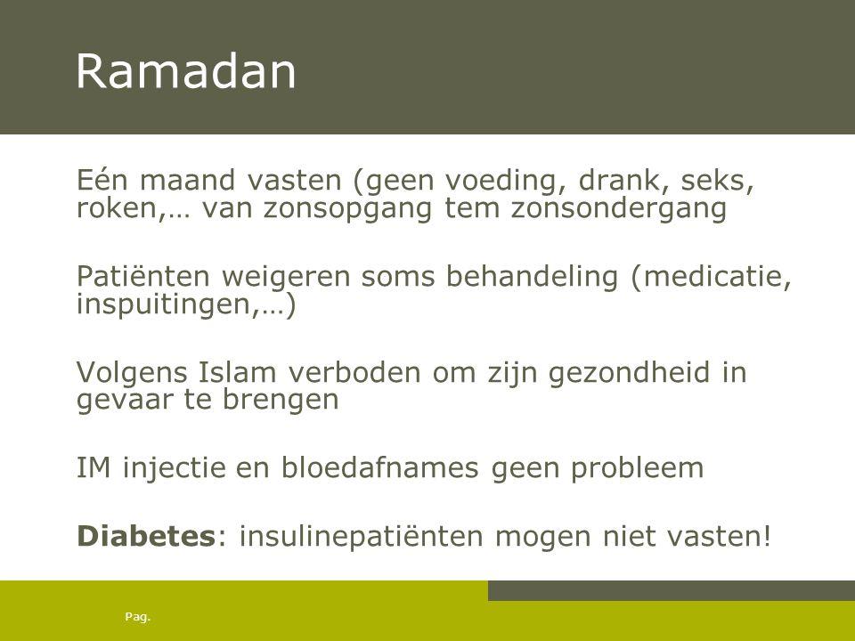Ramadan Eén maand vasten (geen voeding, drank, seks, roken,… van zonsopgang tem zonsondergang.