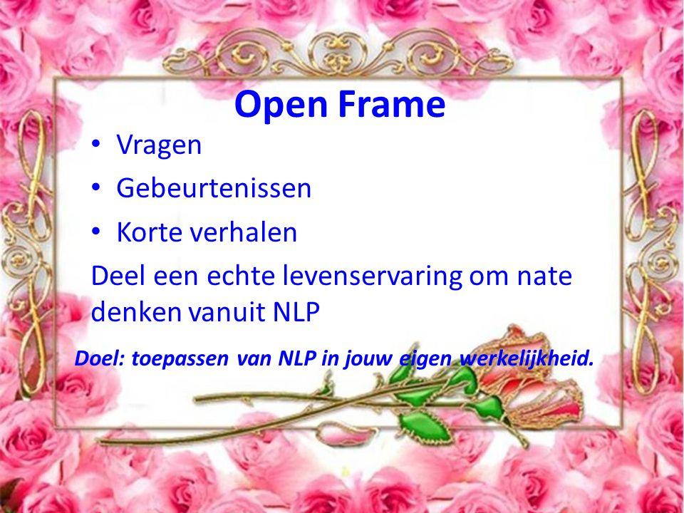 Open het frame! Open Frame Vragen Gebeurtenissen Korte verhalen