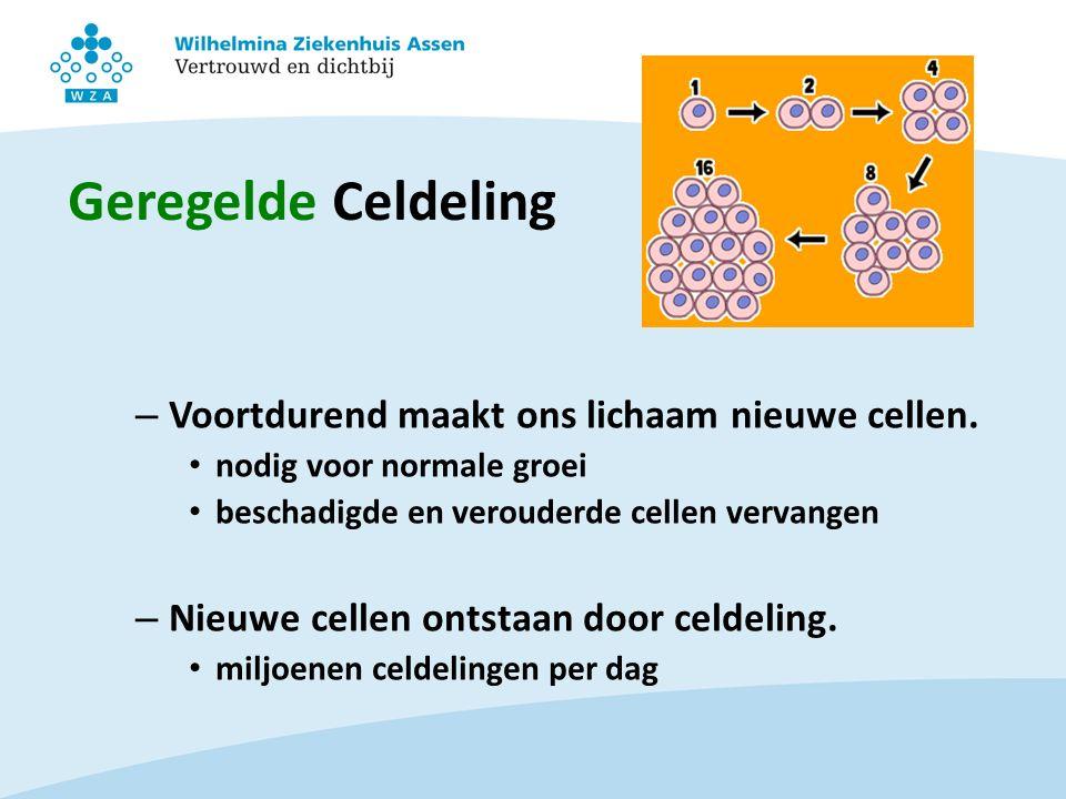Geregelde Celdeling Voortdurend maakt ons lichaam nieuwe cellen.