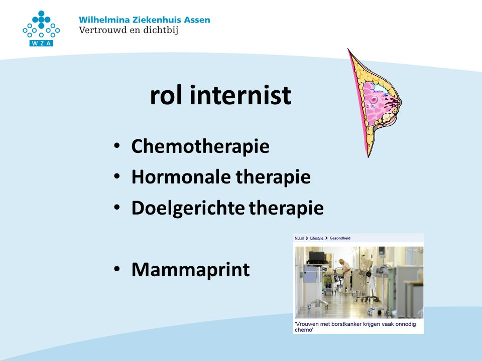 rol internist Chemotherapie Hormonale therapie Doelgerichte therapie