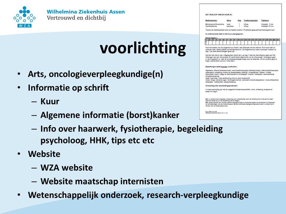 voorlichting Arts, oncologieverpleegkundige(n) Informatie op schrift