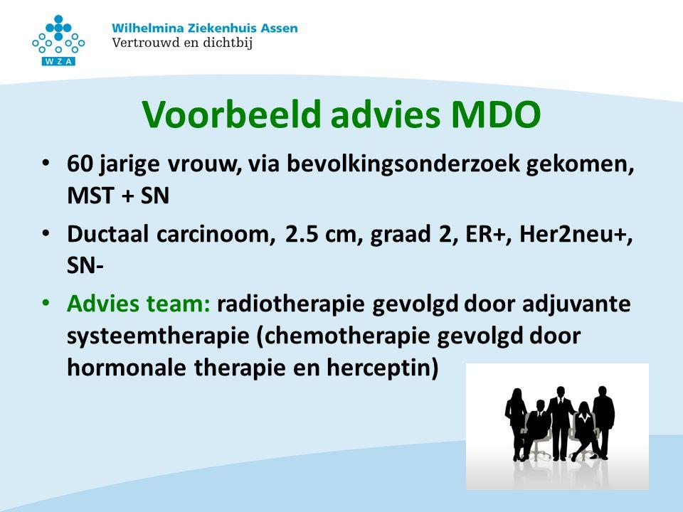 Voorbeeld advies MDO 60 jarige vrouw, via bevolkingsonderzoek gekomen, MST + SN. Ductaal carcinoom, 2.5 cm, graad 2, ER+, Her2neu+, SN-