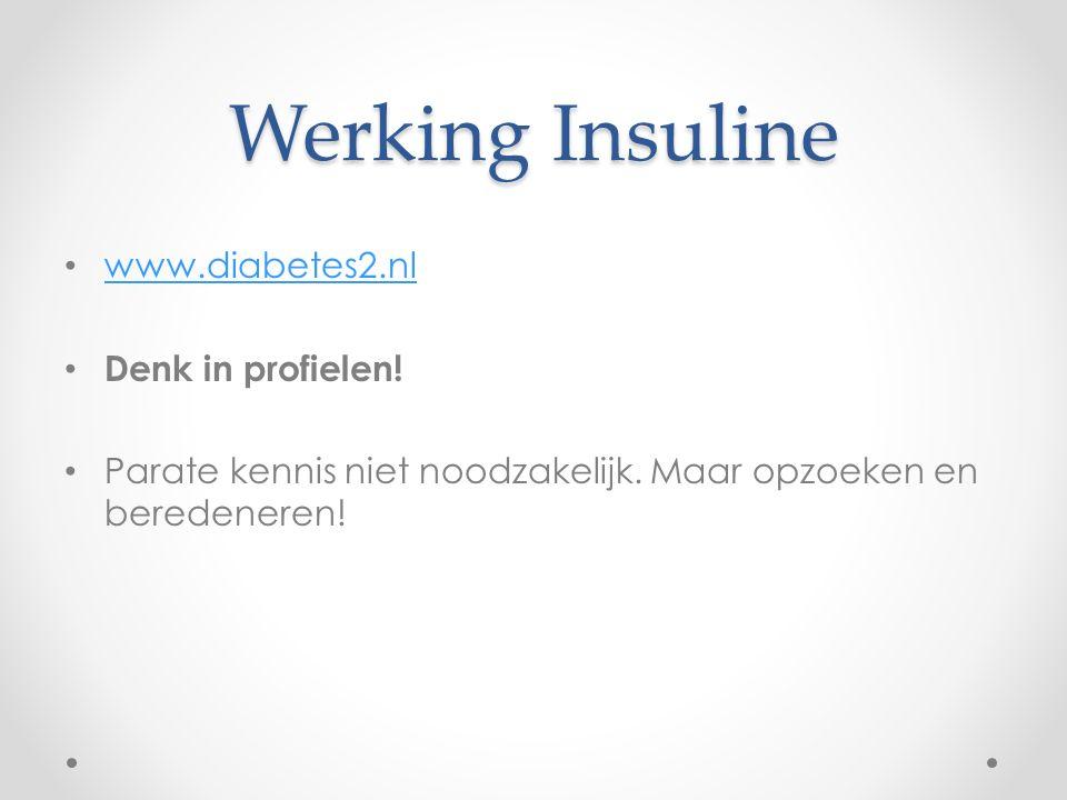 Werking Insuline www.diabetes2.nl Denk in profielen!